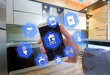 Smart home concept with devices and appliances
